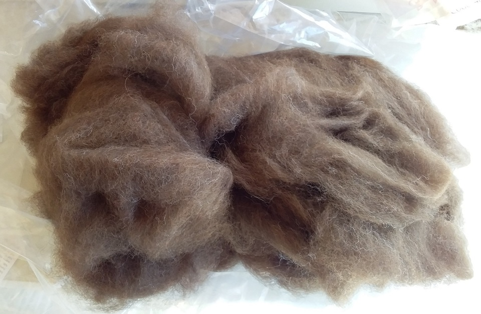 Dark Brown Roan Carded Alpaca Fibre